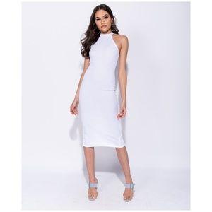 White High Neck Bodycon Midi Dress